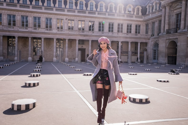 Gray Trumpet Sleeve Coat with Pink Blouse and Over the Knee Boots   in Paris   Ofleatherandlace.com