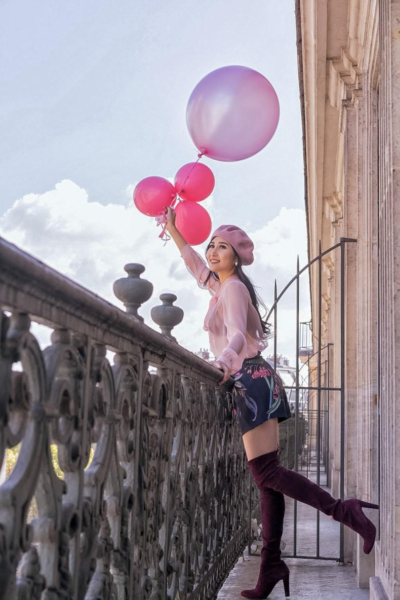 Feminine Fashion Blogger in Paris Hotel with Beautiful View   Ofleatherandlace.com