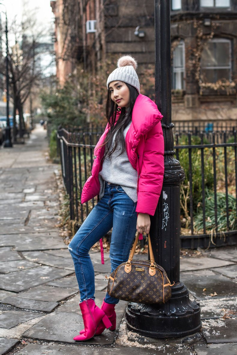 Stylish Puffer Jackets to Get You Through Winte | Of Leather and Lace - Fashion Blog by Tina Lee | puffer jacket outfit, winter outfit, winter outfit casual, fashion blogger style, pink jacket outfit, pink winter outfit, style blogger fashion blog, outfit ideas for winter, pink boots outfit
