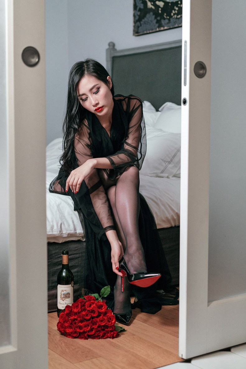 How To Embrace Your Feminine Side and Sensuality | OF Leather and Lace | Red soles, mesh robe, boudoir photography, red roses, red wine, bathroom shot, femininity, sensuality, fashion blogger, fashion blogger style, style inspiration, bedroom outfit, lingerie, intimate apparel
