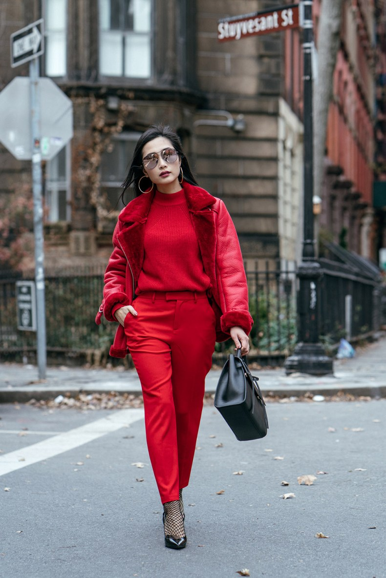 How to Wear Red from Head to Toe - Red Shearling Coat with Red Sweater, Red Trousers and Black Accessories, Asian Blogger, NYC Fashion Blogger | in NYC | Ofleatherandlace.com