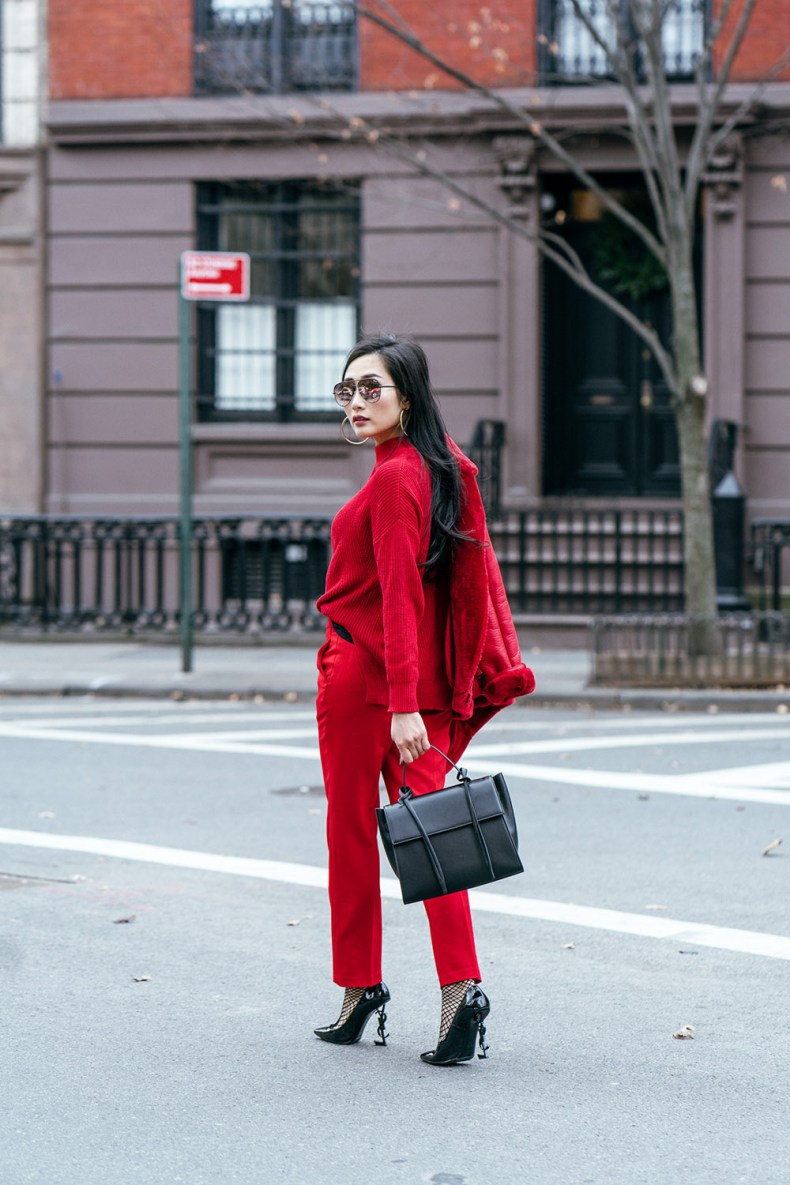 How to Wear Red from Head to Toe - Red Shearling Coat with Red Sweater, Red Trousers, Black YSL Pumps, XNihilo Bank Bag, Asian Blogger, NYC Fashion Blogger | in NYC | Ofleatherandlace.com