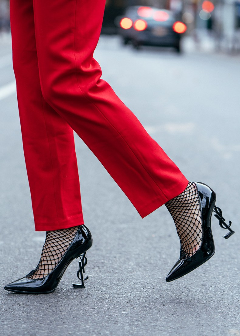 How to Wear Red from Head to Toe - Red Trousers with Fishnet Stockings and YSL Black Patent Leather Pumps, Asian Blogger, NYC Fashion Blogger | in NYC | Ofleatherandlace.com
