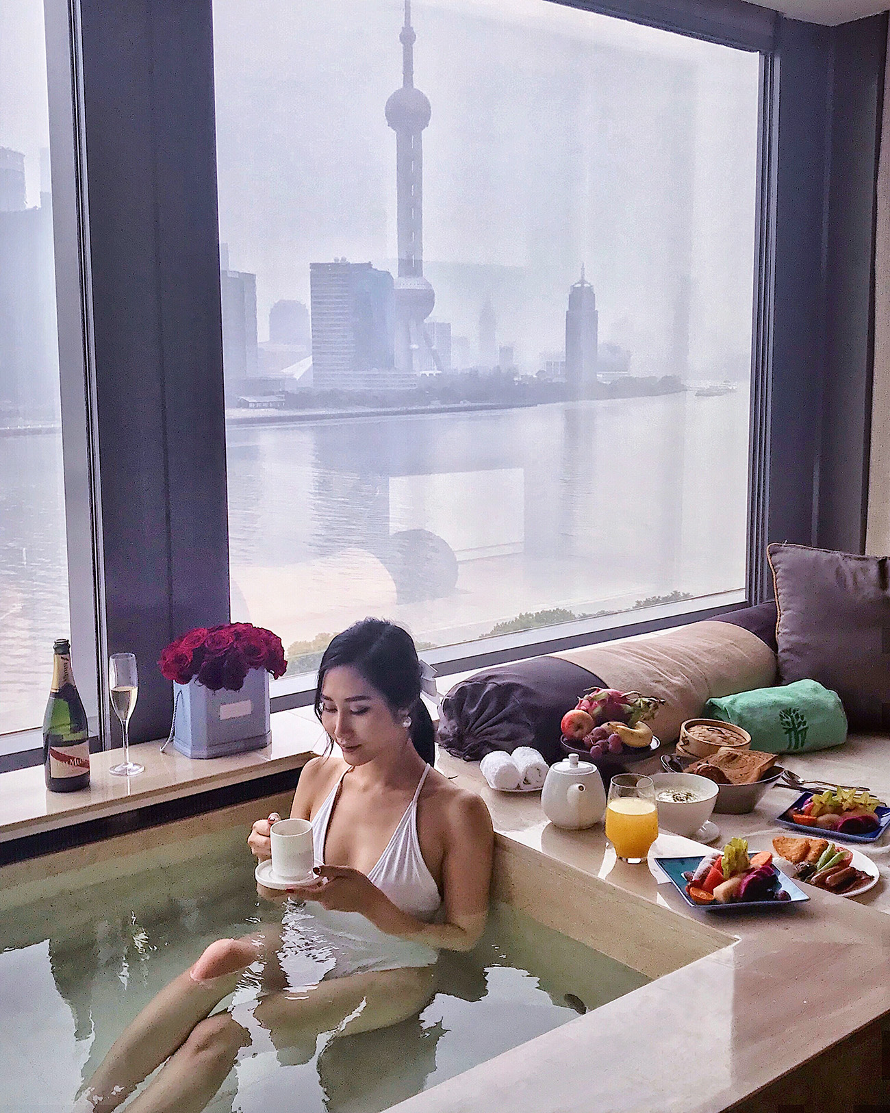 Banyan Tree Shanghai on the Bund - Hotel Room with a Pool and a View   Of Leather and Lace - Fashion & Travel Blog by Tina Lee   hotel review, shanghai city, pearl tower
