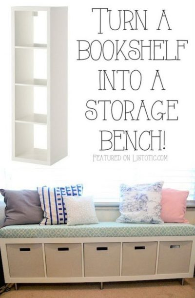 Turn an Ikea bookshelf into a storage bench. Awesome!