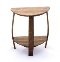 Wine Barrel Half Round End Table