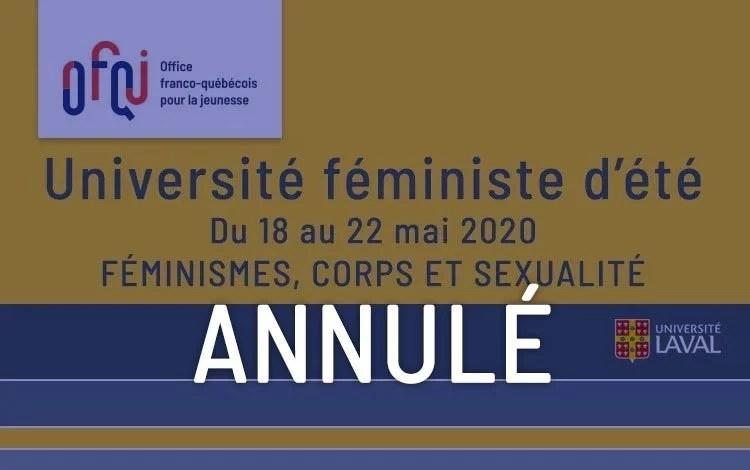 Université d'été féministe de l'Université Laval 2020 – annulé