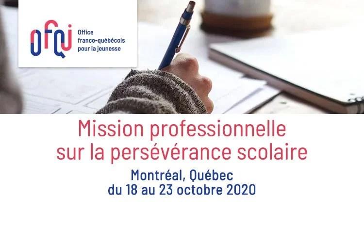 Mission professionnelle sur la persévérance scolaire 2020