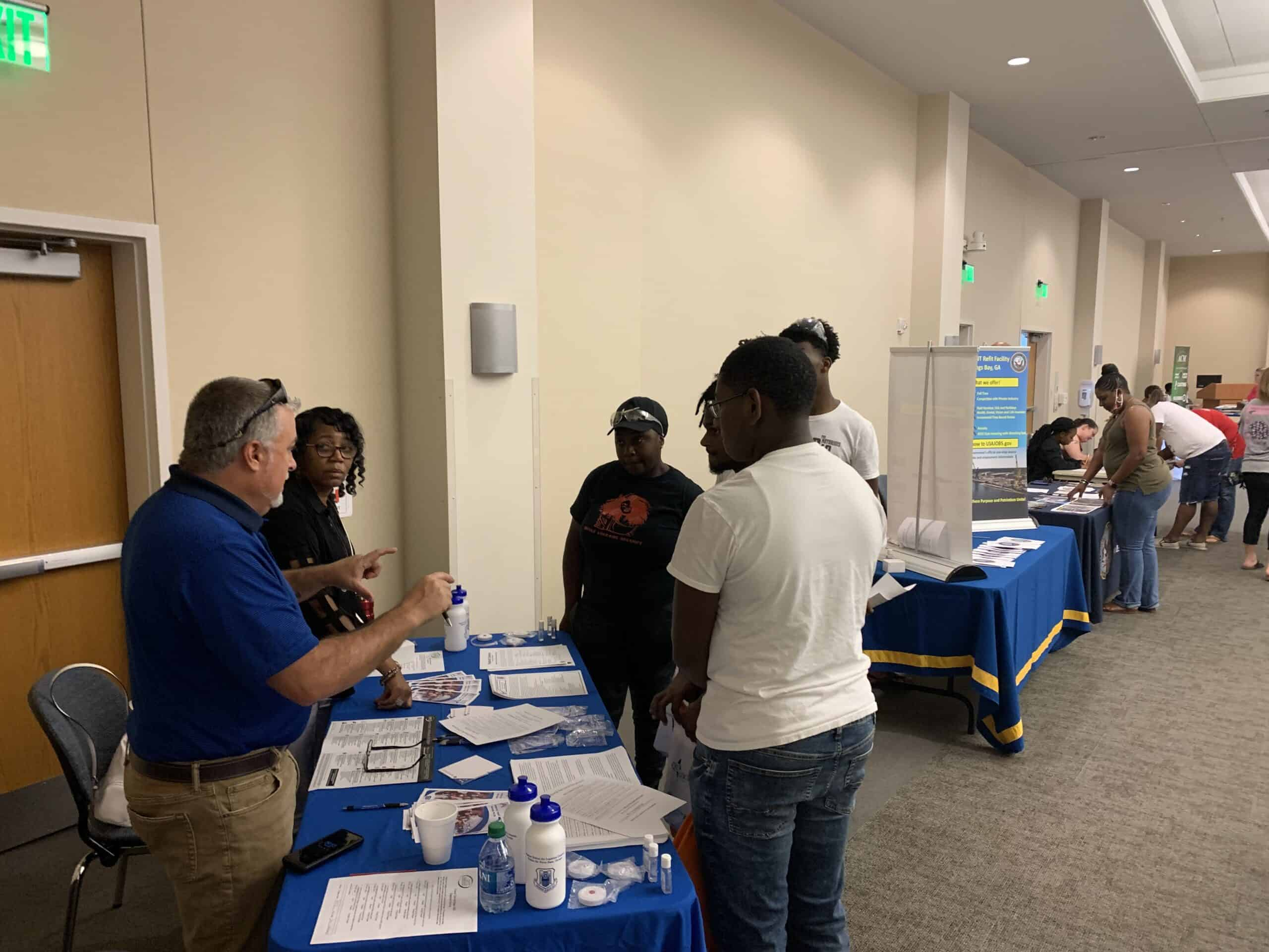 Job seekers meeting with local employers to learn of employment opportunities during OFTC's 2021 Career and Job Expo.