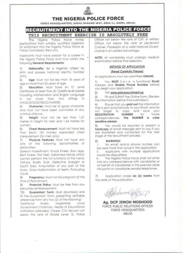 nigeria police recruitment application requirements