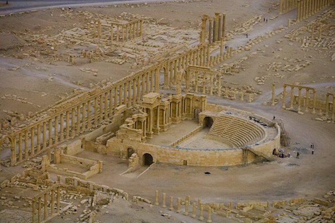 Una visione del sito di Palmira dall'alto