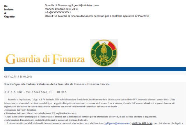 Attenzione, nuova truffa via e-mail circa l'invio di documentazione contabile alla Guardia di finanza