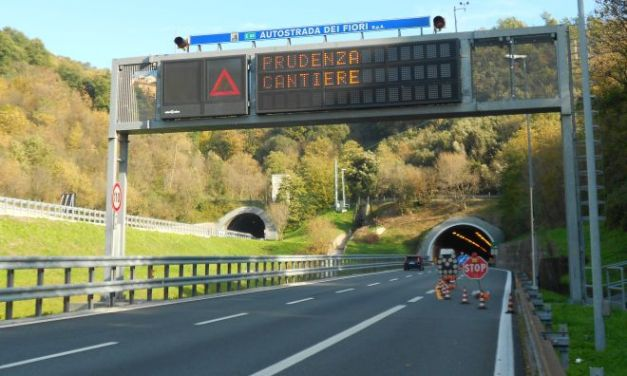 I cantieri sull'Autostrada dei Fiori a partire da Lunedì 13