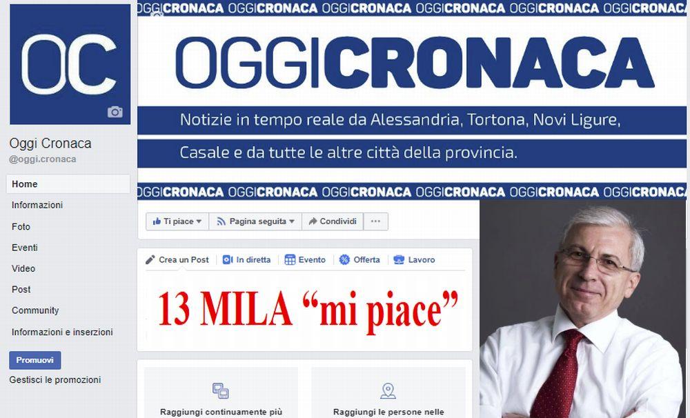 La pagina Facebook di Oggi Cronaca ha superato i 13 mila like! Grazie a tutti