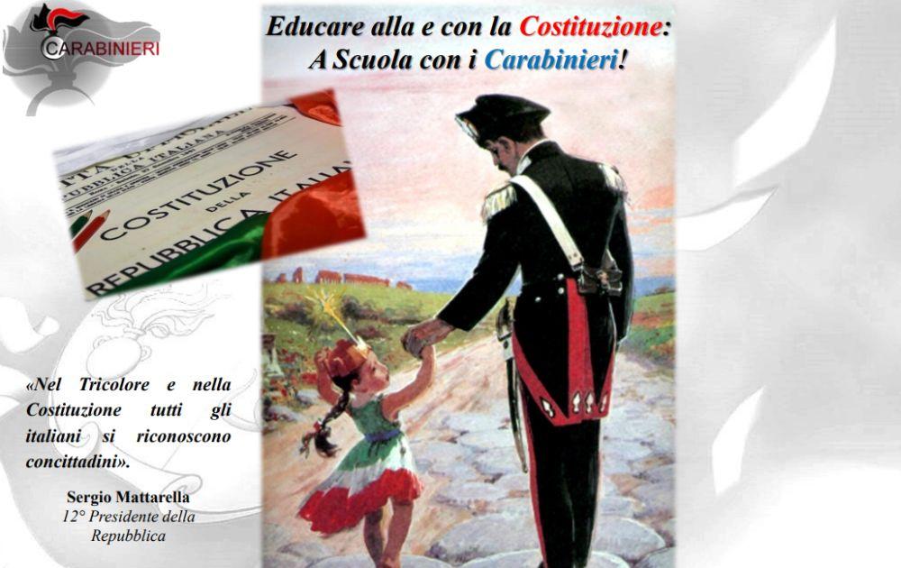 """Imperia, al via il nuovo progetto dell'Arma dei Carabinieri nelle scuole """"Educare con la Costituzione"""""""