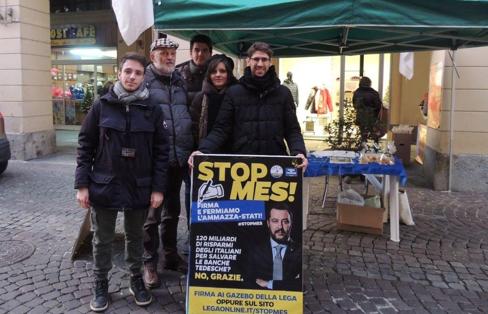 La Lega di Tortona in piazza raccoglie firme contro il Mes