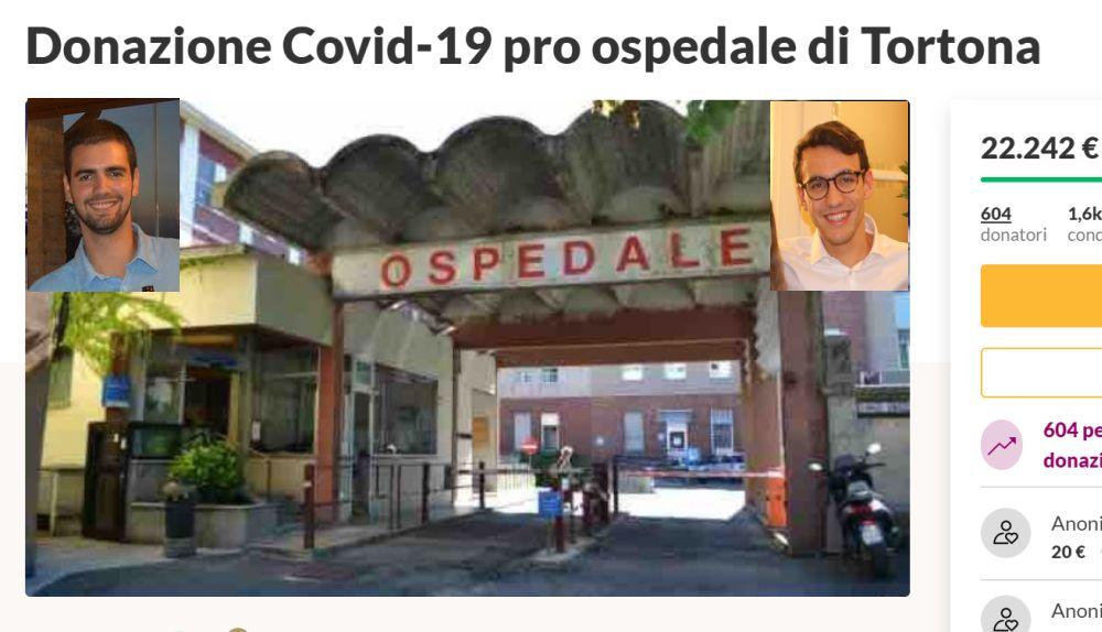 Due giovani tortonesi raccolgono fondi per l'ospedale di Tortona e in un giorno oltre 600 persone hanno aderito