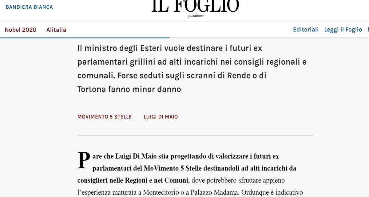 """""""Il Foglio"""" cita Tortona come toccasana per il Movimento Cinquestelle per mandare (forse) un parlamentare"""