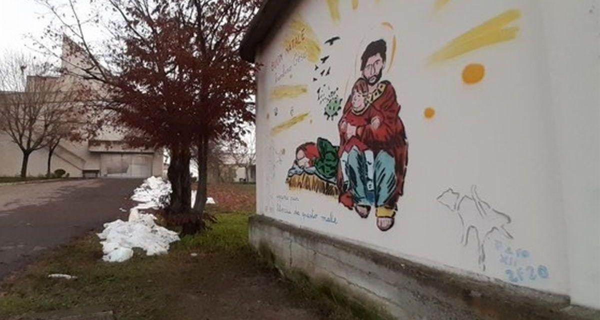 Tortona è più bella col nuovo murale realizzato dalla famiglia Falchetto contro il Covid