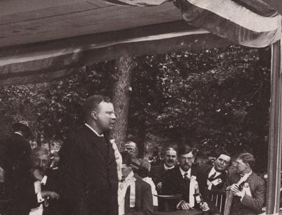 Historic image of Roosevelt on Millikin platform in 1903