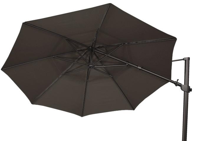 large 11 foot black offset octagonal patio umbrella by treasure garden