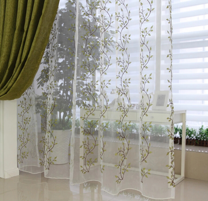 White And Green Leaf Extra Long Sheer Curtains Buy White Sheer