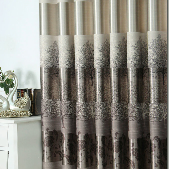 Stylish And Fancy Energy Saving Curtains Of Brown Printed Patterns