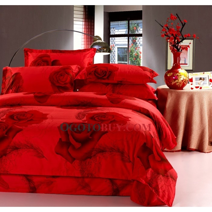 Bright Red Rose Cotton 4 Piece Duvet Cover Set Buy Red Curtains