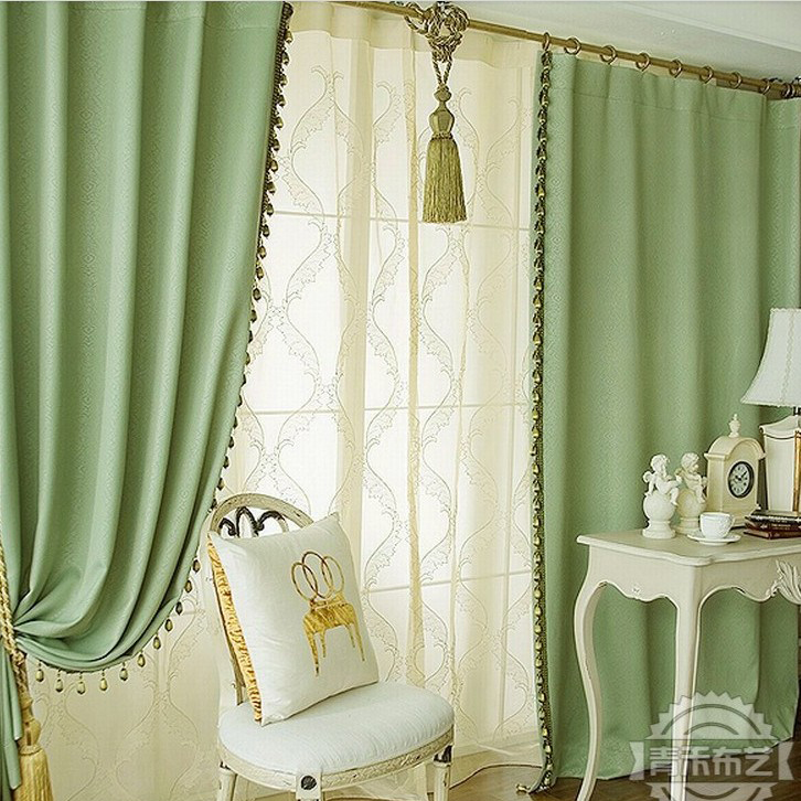 Concise Green Print Blackout Heat Insulation Living Room Curtain