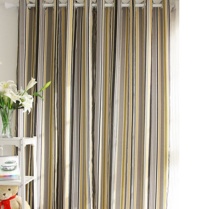 Cotton Curtains Of Striped Lines For Blackout Buy Multi Color