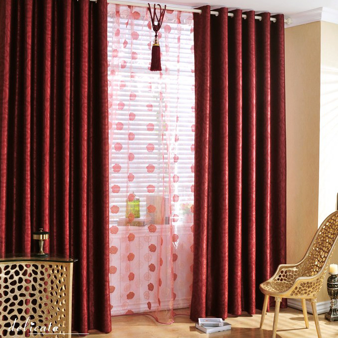 Attractive Fancy Blackout And Thermal Blended Material Curtains In Red Buy