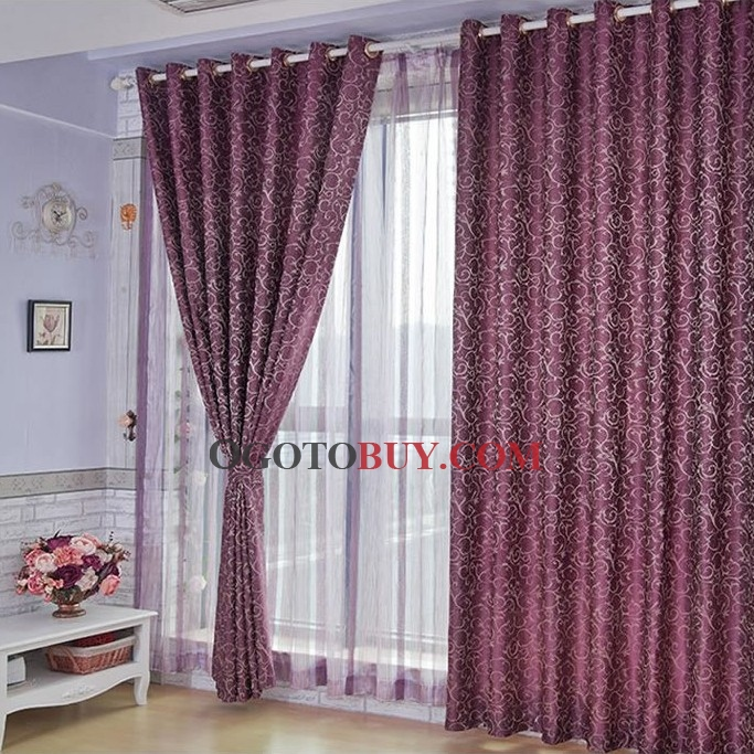 Graceful Floral Jacquard Eco Friendly Purple Curtains Buy Purple