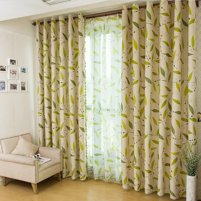 Leaf Printed Blackout And Thermal Modern Curtains Buy Multi