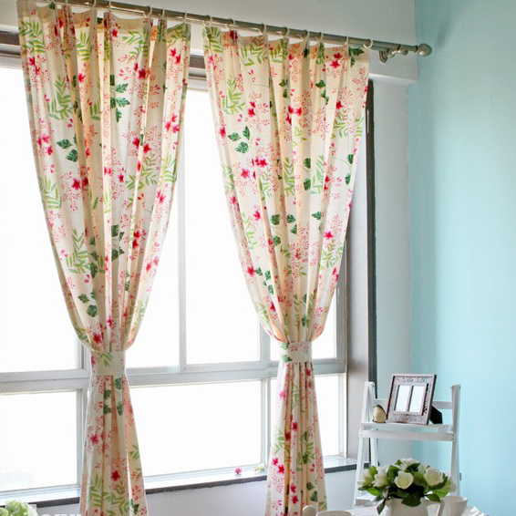 Pure Cotton Flower Printed Eco Friendly Curtains For Blackout
