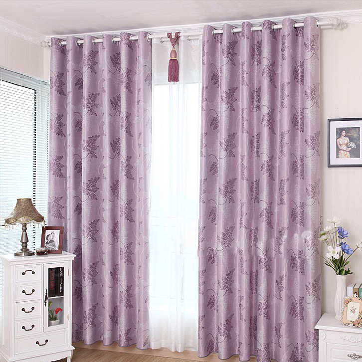 Special Designed Leaf Cotton Blackout Curtains In Purple Buy