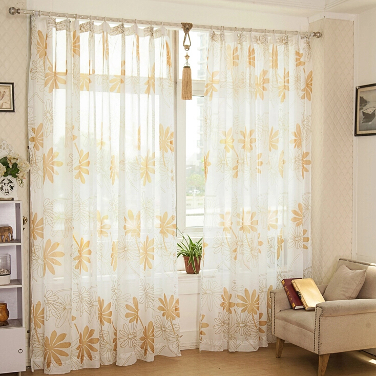 Affordable Floral Pattern Living Room Suitable Sheer Curtains Buy