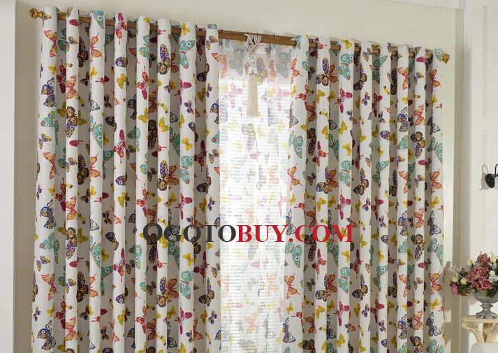 Butterfly Country Style Thick Fun Window Curtains Buy Colorful