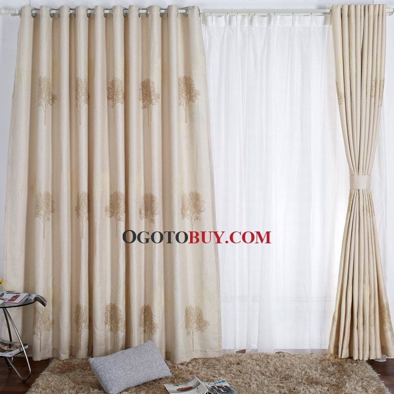 Simple And Modern Embroidery Beige Panel Curtains Uk Buy Beige