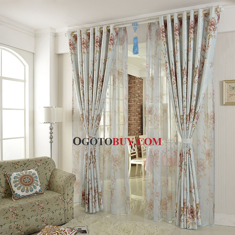 Best Designed Country Floral Retro Curtains Uk Buy Blue Curtains