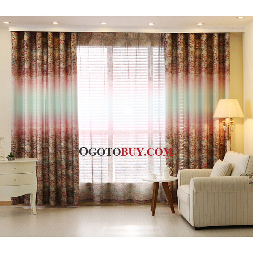 Colorful Primitive Poly Cotton Fabric Country Curtains For Living