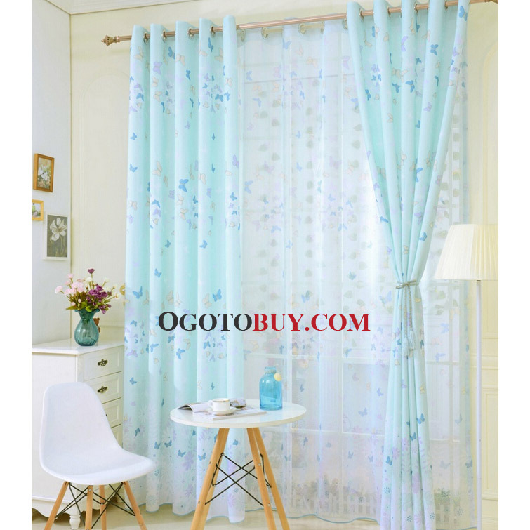 Printed Butterfly Cheap Kids Curtains In Light Green Polyester