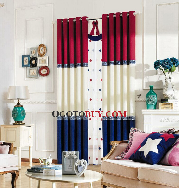 Thick Chenille Fabric Red And Navy Blue Privacy Mediterranean. Navy Blue And Red Curtains