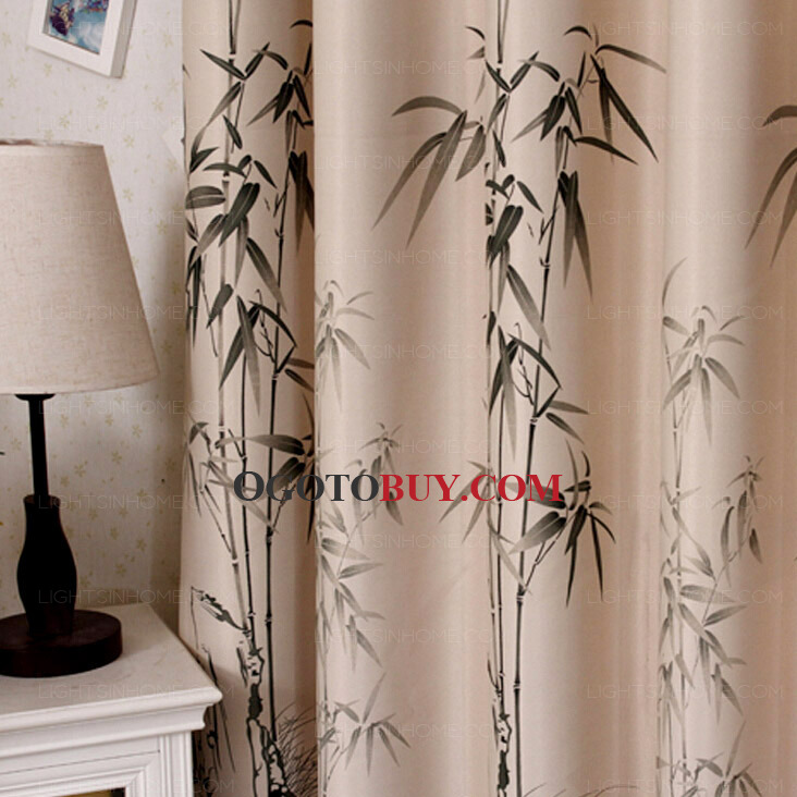 Quality Cotton Poly Blend Fabric Bamboo Pattern Pastoral Style