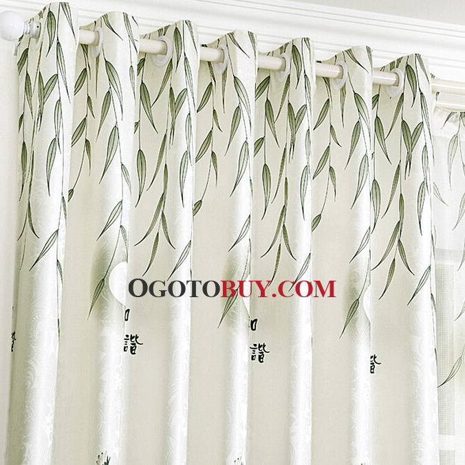 Modern Chinese Country Style Bamboo Pattern Living Room Curtains