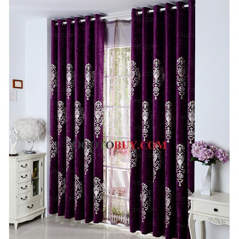 Embroidered Classic Pattern Chenille Dark Purple Curtains Buy
