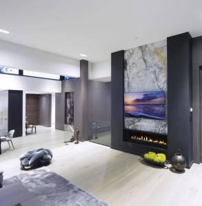 Family room in luxury custom estate home