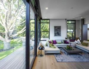 Modernist glass wall living room