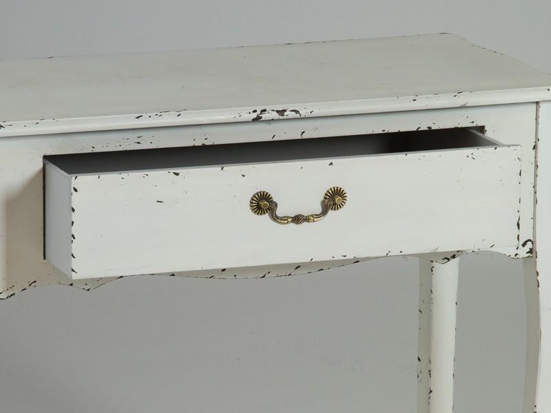 Consola vintage blanca de madera decapada con cajn
