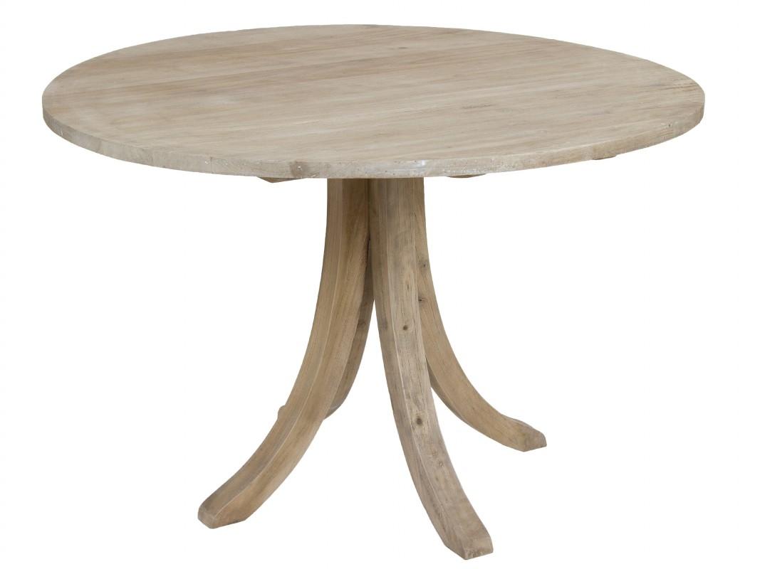 Mesa redonda rstica de madera envejecida para salncomedor