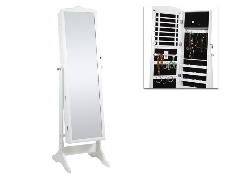 Armario joyero blanco con espejo vestidor de madera